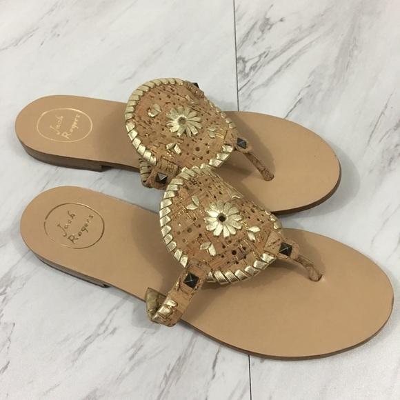 60b0df2f640e Jack Rogers Shoes - Jack Rogers GEORGICA Cork Gold Leather Sandal